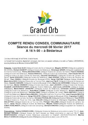 Conseil communautaire du 8.02.2017